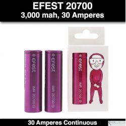 Efest 20700 IMR Flat Purple, 3,000 mah, 30 Amp Continuos