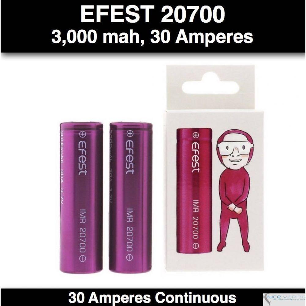 Efest 20700 IMR Flat Purple, 3,000 mah, 30 Amp Continuous