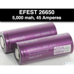 Efest IMR 26650 5000mah sin teton, Morada 45 Amp