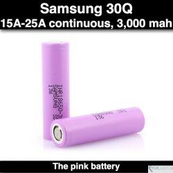 Samsung 30Q 18650 15A/25A, 3000mah, Flat